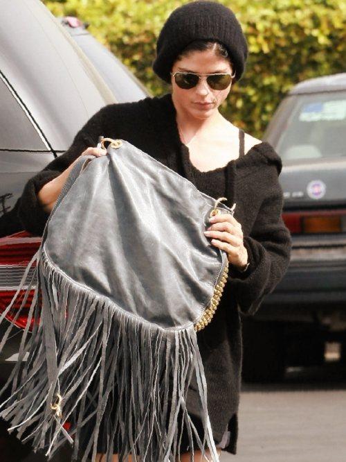 Selma Blair casual look fringe bag