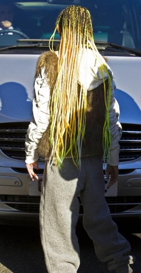 Willow Smith rocks Neon yellow green cornrows braids