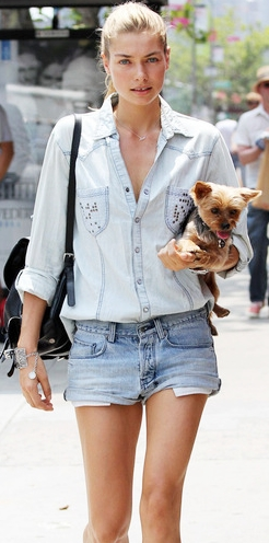 denim shirt with denim shorts