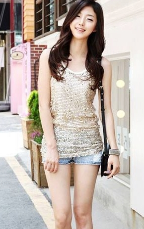 sequinned top with denim shorts