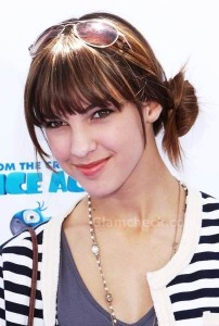 Denyse Tontz sports bangs with side knot at 'Rio' LA Premiere