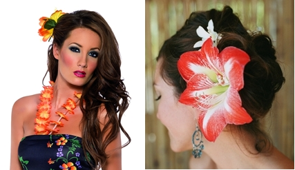 Hawaiian floral hair accessories