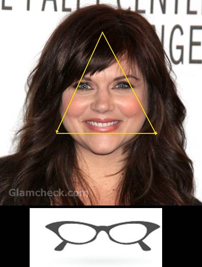 Tiffani Thiessen triangle face cat eye glass frame