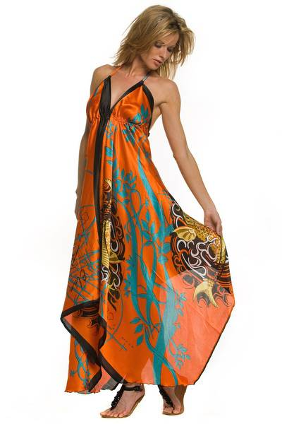 handkerchief hemline assymetric hawaiian dress