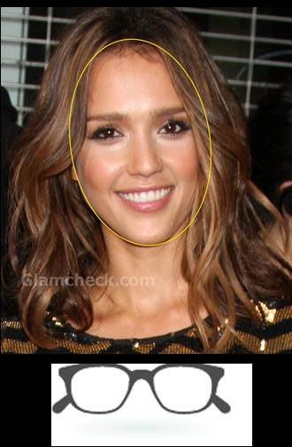 jessica alba oval face rectangle glass frame