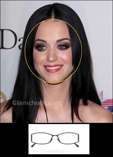 katy perry round face rectangle glass frame