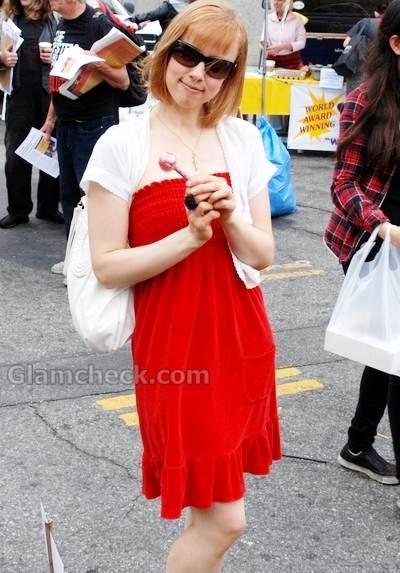 Laura Waddell strapless red summer dress