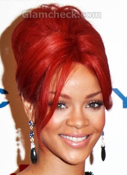 Rihanna fiery red top bun Hairstyle