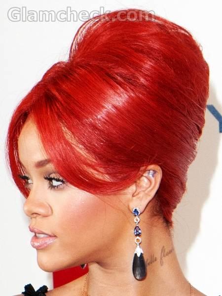 Rihanna red hair top bun Hairstyle