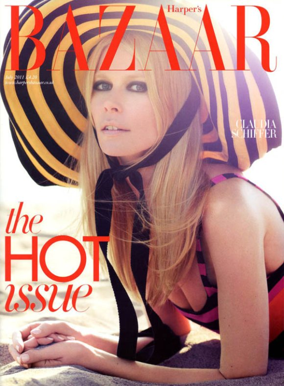 Claudia Schiffer Harpers Bazaar UK July 2011