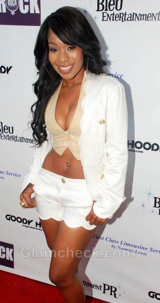 white outfit celebrity Porscha Coleman