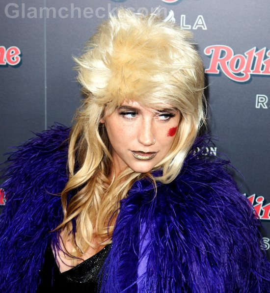 Kesha makeup face art 80s Rock Star Hair