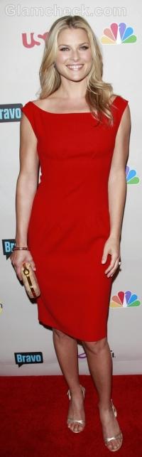 red sheath dress