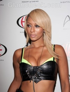 Keri Hilson performs in a leather outfit