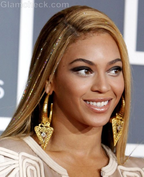 beyonce straight hairstyles side parting