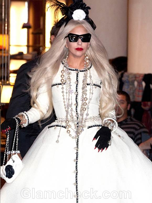 Gaga Rocks Custom Chanel Gown at Workshop Opening