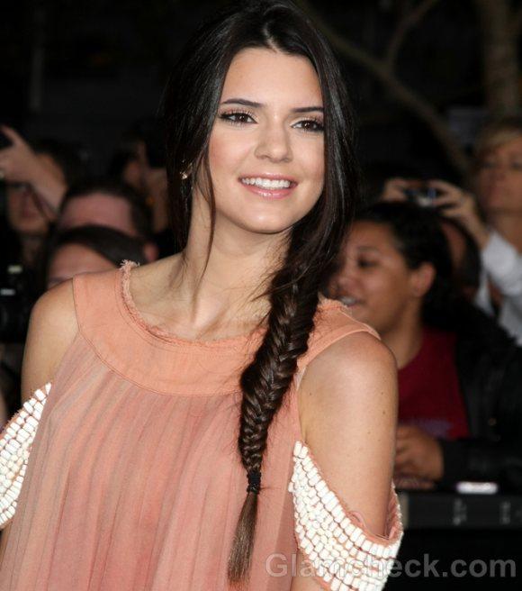 Kendall Jenner Sports Side Fishtail Braid At The Twilight Saga Premiere