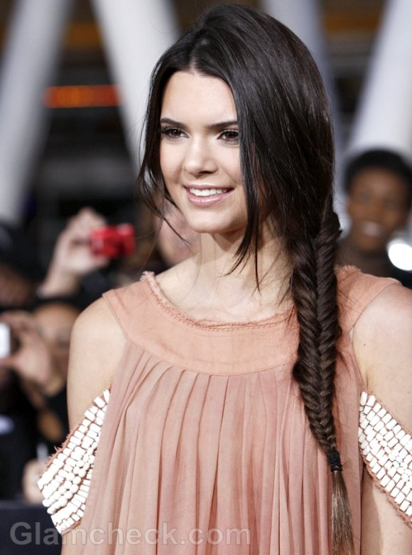 Kendall Jenner Sports Side Fishtail Braid