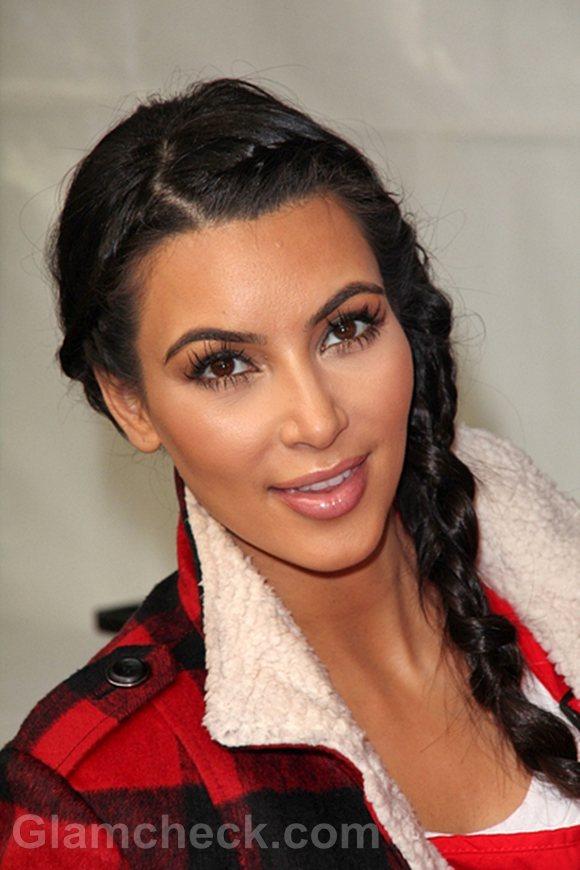 Kim Kardashian Milkmaid Braids hairstyle Thanksgiving