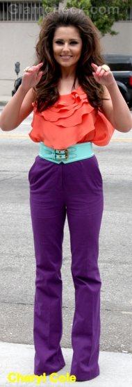 Cheryl Cole Celebrity Fashion Trends 2011 color block