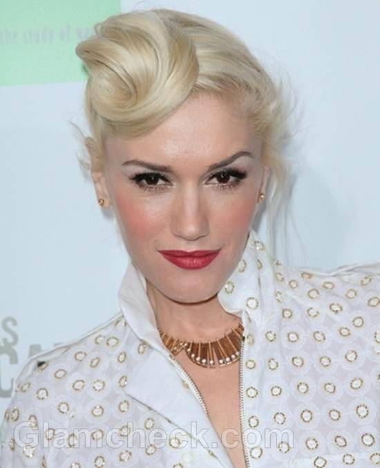 Gwen Stefani Sports Unique Updo celebrity hairstyle