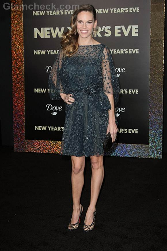 Hilary Swank Sparkles at New Years Eve LA Premiere
