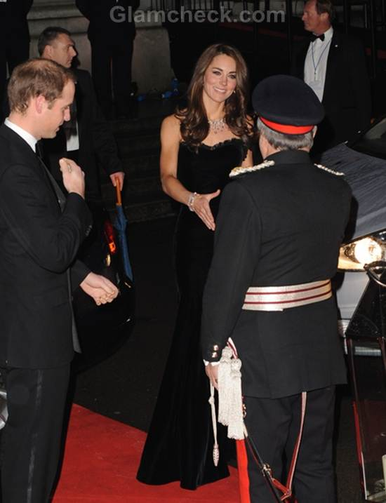 Kate Middleton Black Strapless Alexandra McQueen Gown