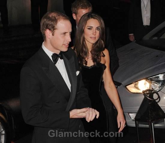 Kate Middleton  Black Velvet Strapless Alexandra McQueen Gown