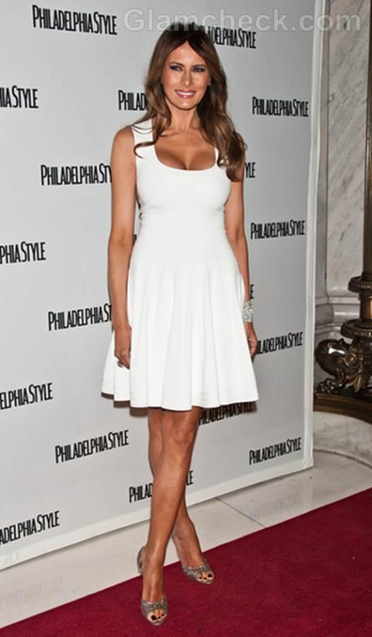 Melania Trump Vision in White dress Philadelphia Style Party