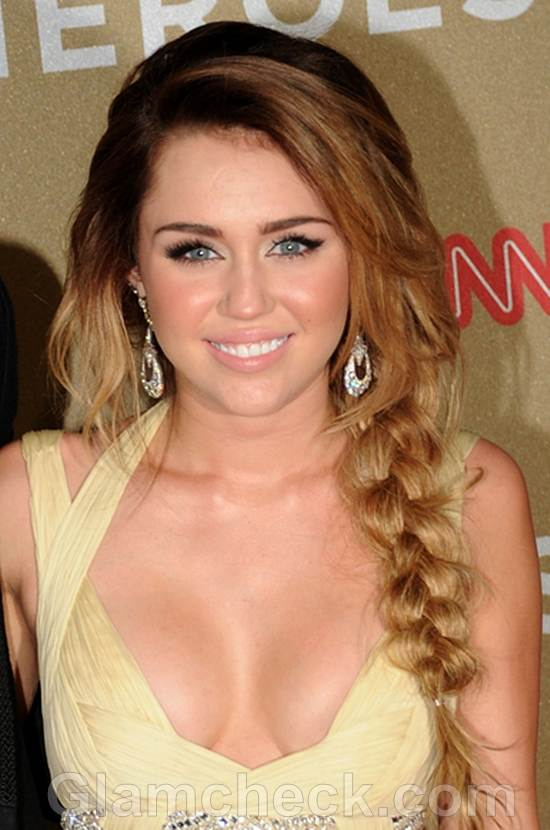 Miley Cyrus Wows in Sexy Side Plait Hairstyle