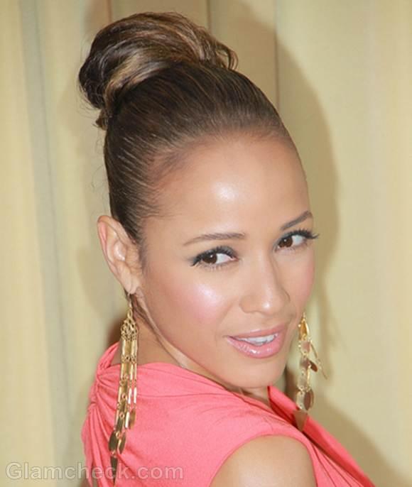 Dania Ramirez Pert in Sleek Top Knot hairstyle