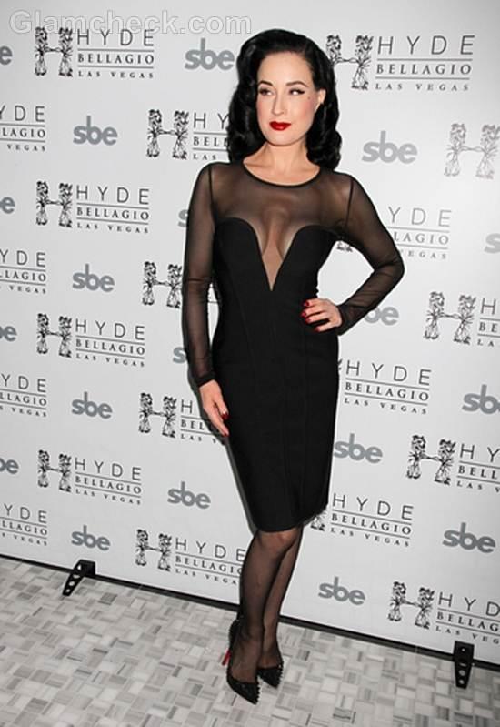 Dita Von Teese revealing black dress