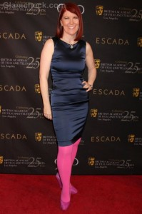 Fashion Faux Pas: Kate Flannery's  Color Blocking Flops at BAFTA Tea Party