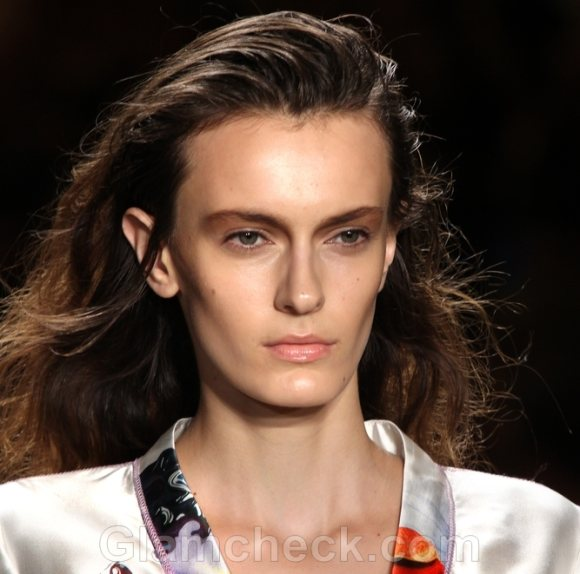 Hairstyle How To Slicked Back Messy Curls Cynthia Rowley SS 2012