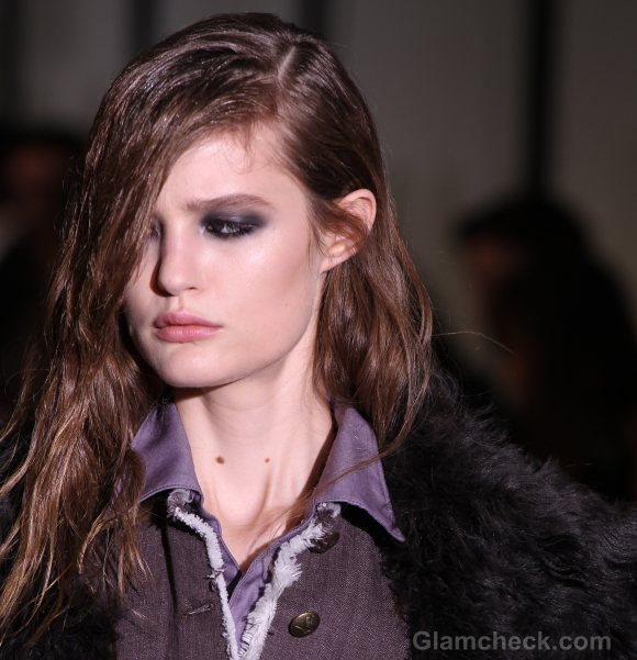 Hairstyle how to side swept asymmetric androgynous hair-do diesel black gold fall 2011