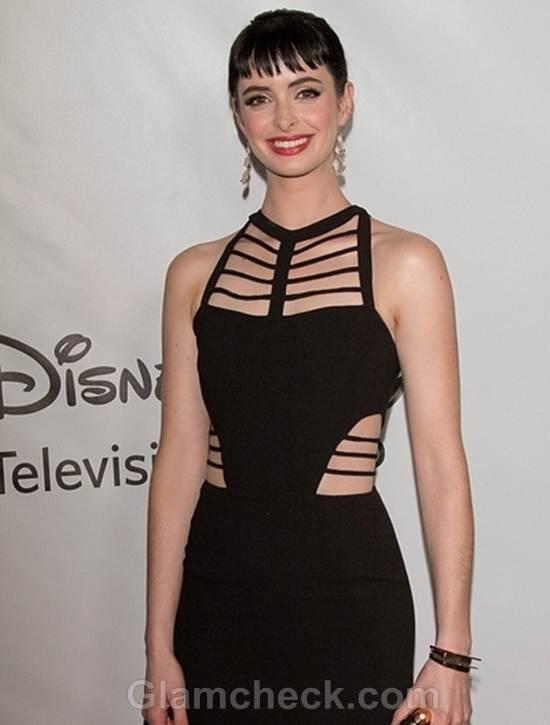 Krysten Ritter Black Cutout Dress to All-Star Party