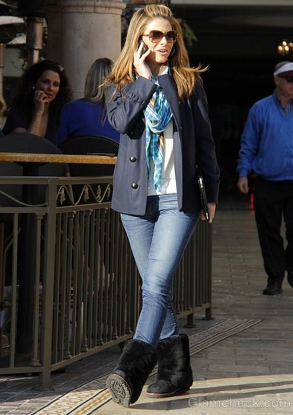 Maria Menounos Sighted in Cool Blue Ensemble street style