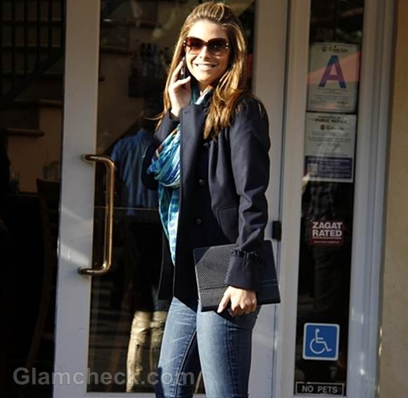 Maria Menounos Sighted in Cool Blue Ensemble