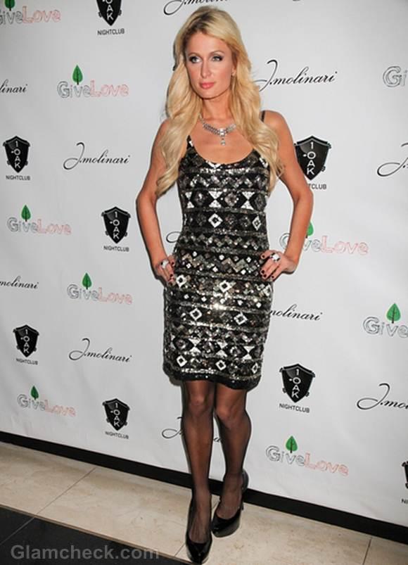 Paris Hilton Fabulous In Sparkly Dress At 1oak Las Vegas