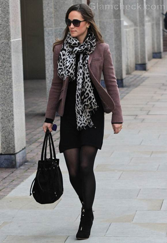 Pippa Middleton Sports Animal Print Stole On Walk in London