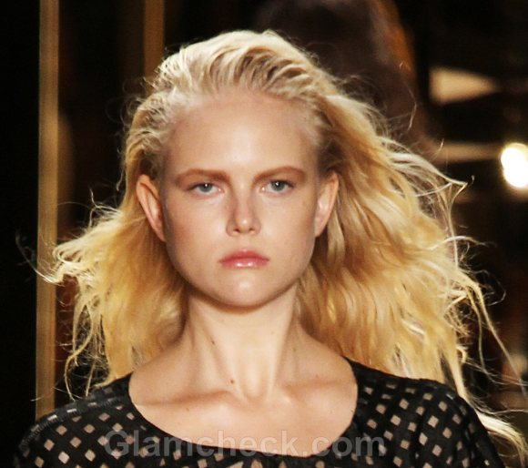 Slicked back messy curls hairstyle how to  cynthia rowley ss 2012