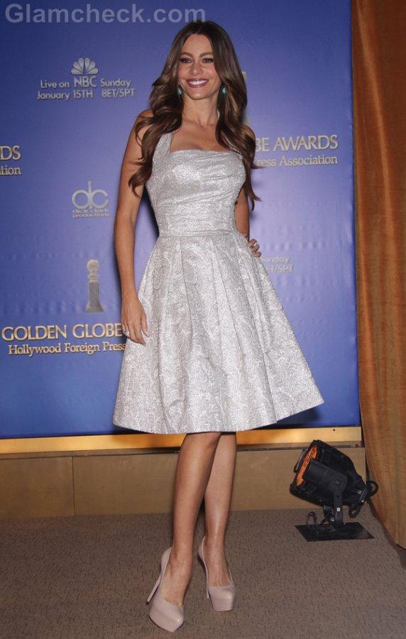 Sofia Vergara  Off-white Retro dress Golden Globe Awards 2012 Nominations