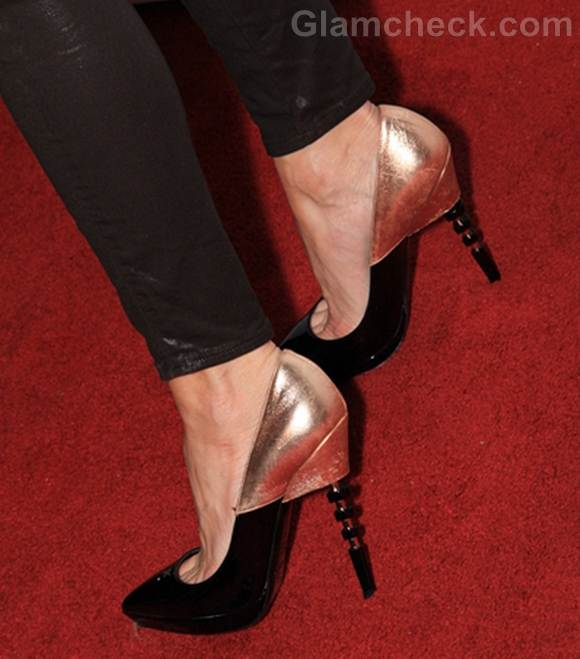 stylish gold black heels