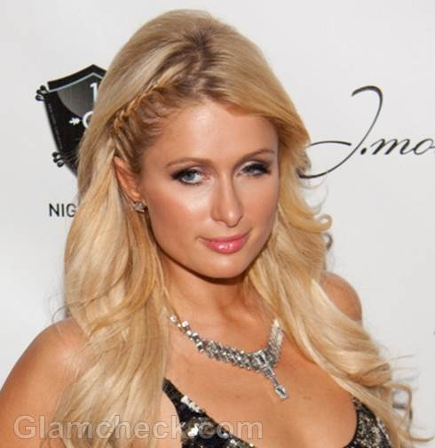 Wondrous Celeb Hairstyle Paris Hilton Sports Braided Bangs Hairstyle Inspiration Daily Dogsangcom