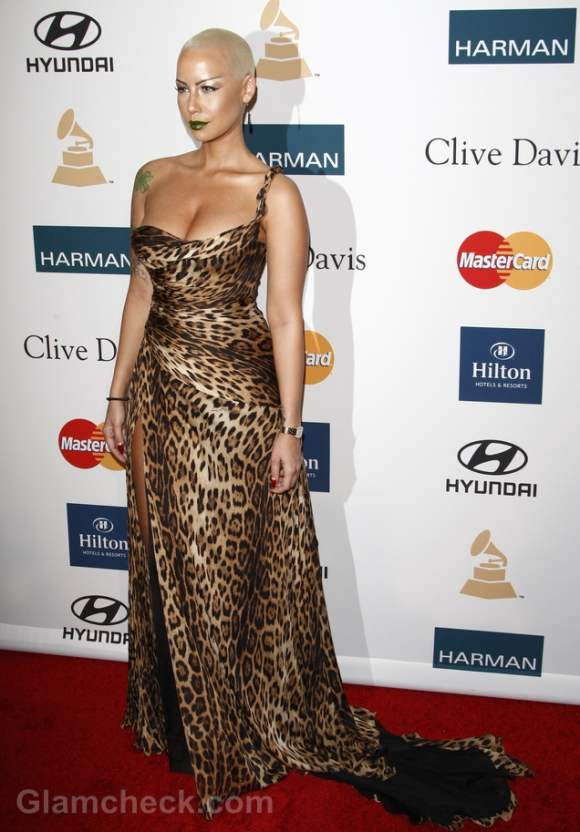 Amber Rose Animal Print Gown Pre-Grammy Party