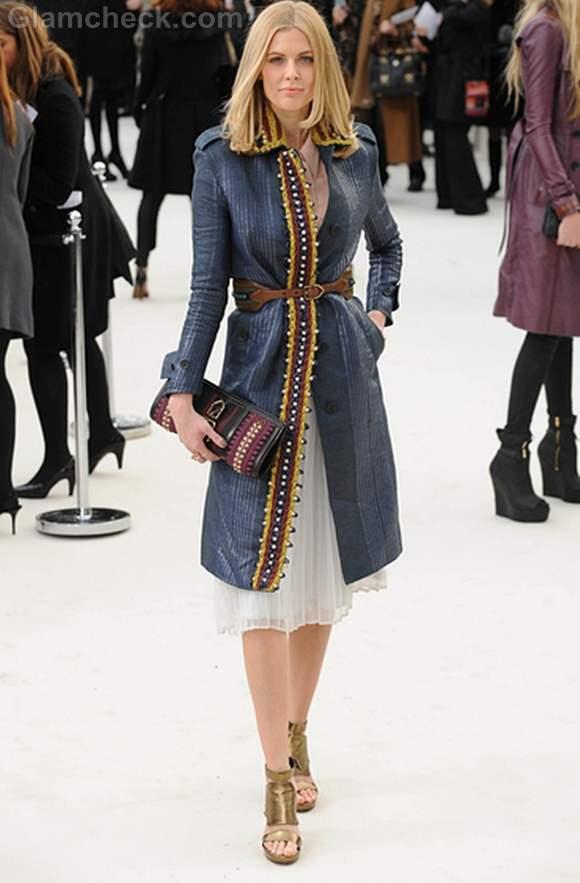 Donna Air London Fashion Week in Gold Heels Blue Coat