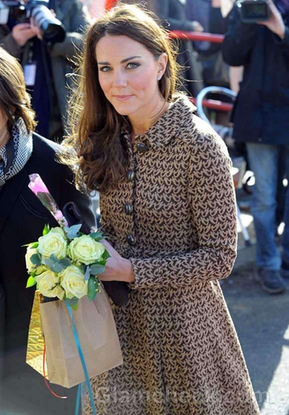 Duchess of Cambridge in Stylish Coat Dress at School Visit