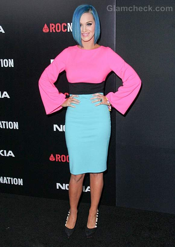Katy Perry Sports Color Block Outfit to Perfection at Pre-Grammy Brunch