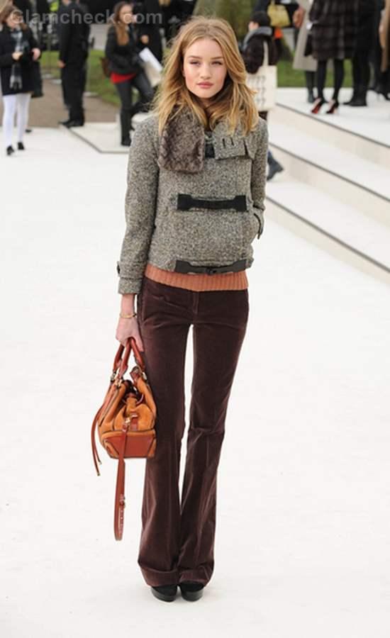 Rosie Huntington-Whiteley Tweed Jacket to London Fashion Week