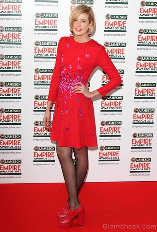 Agyness Deyn red dress empire film awards 2012